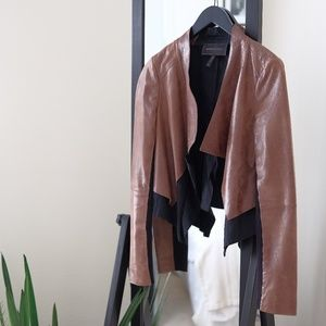 Brown and Black Leather Jacket